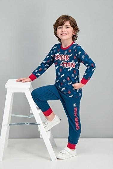 Spider-Man Spider Man Lisanslı Lacivert Erkek Çocuk Pijama Takımı Lacivert